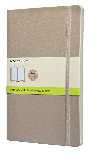 Moleskine Classic Colored Notebook, Large, Plain, Khaki Beige