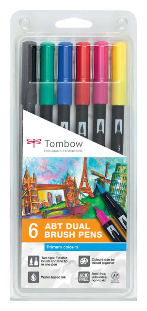 brushstift tombow abt dual assorti blister 6 stuks