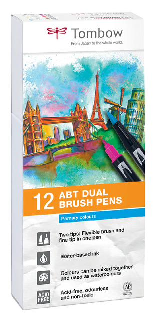 brushstift tombow abt dual assorti doos 12 stuks