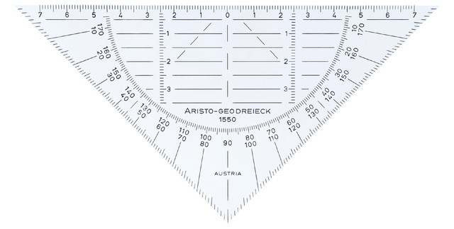 geodriehoek aristo 1550 160mm flexibel transparant