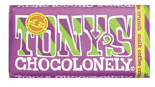 ,Chocolade Tony`s Chocolonely reep 180gr melk coffee crunch