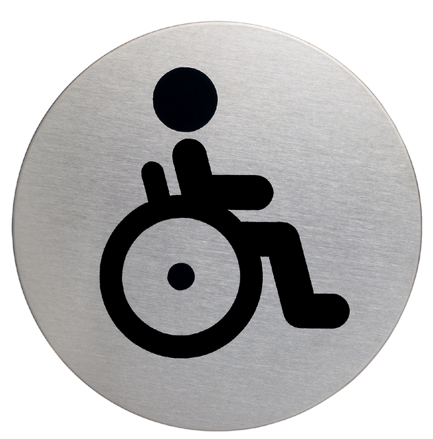 Afbeelding van Infobord pictogram durable 4906 wc invalde rond 83mm