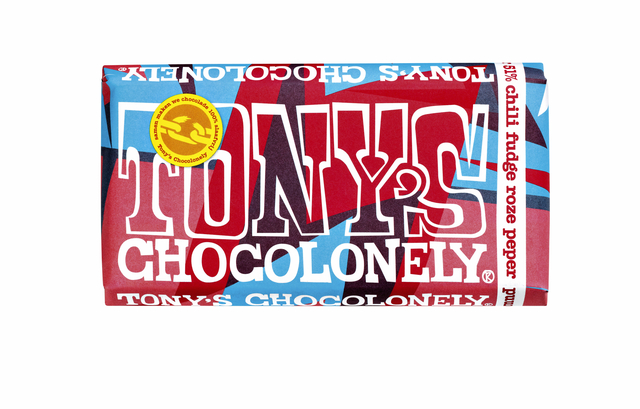 ,Chocolade Tony`s Chocolonely reep 180gr puur chili fudge roze peper